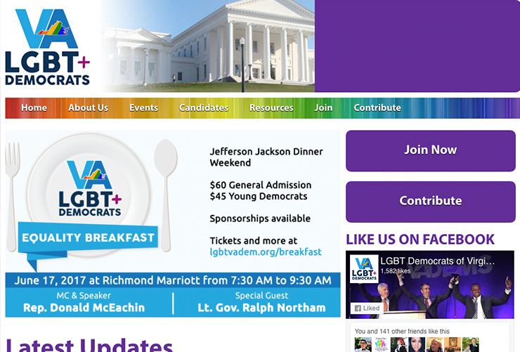 LGBT Democrats of Virginia Web Design and Web Development by Joel McDonald