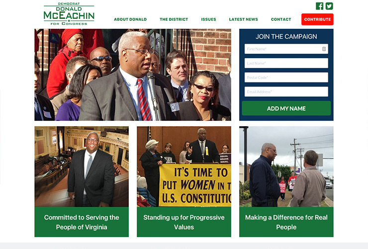 McEachin for Congress Web Development by Joel McDonald